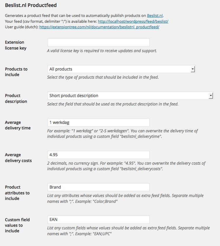Screenshot instellingen beslist.nl productfeed voor WooCommerce