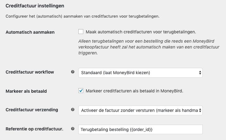 MoneyBird creditfactuur instellingen