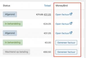 MoneyBird kolom op WooCommerce bestellingen pagina