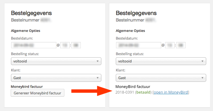 Moneybird factuur status via WooCommerce backend