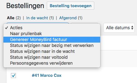 Bulk MoneyBird facturatie voor WooCommerce bestellingen