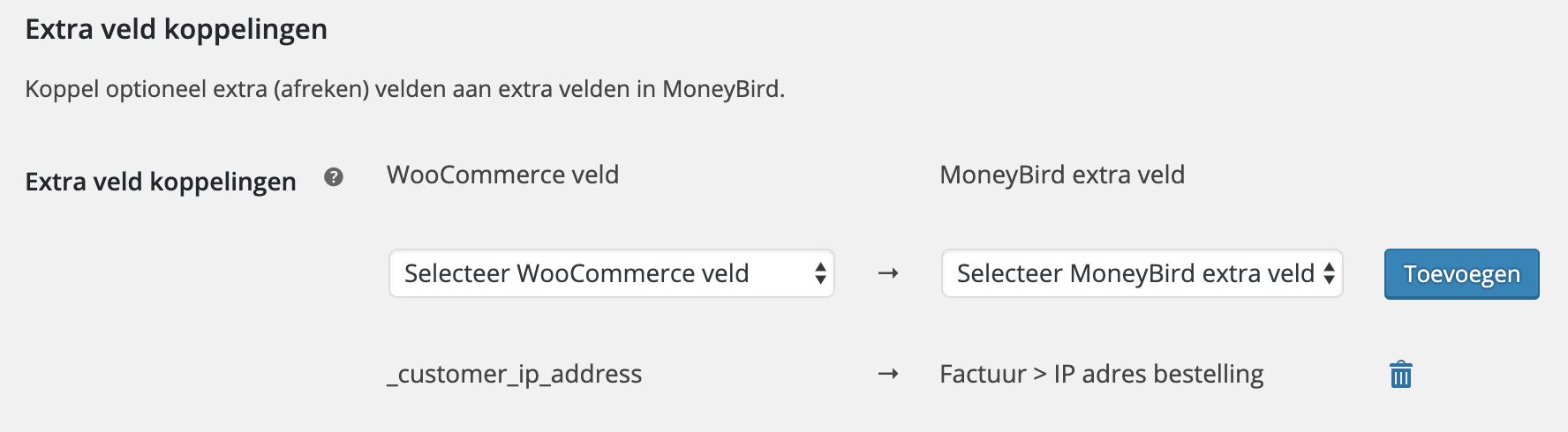 WooCommerce meta velden koppelen aan extra velden in MoneyBird